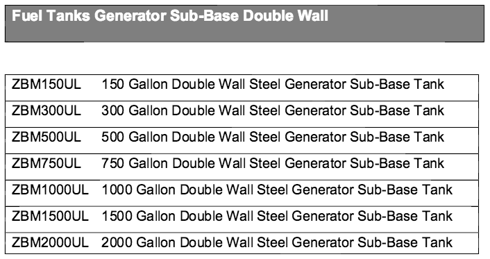 ZBM Generator Sub-Base Fuel Tanks