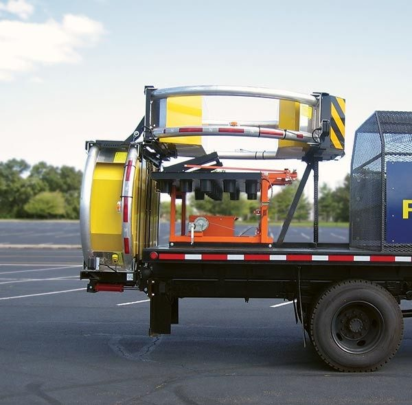 Skid-Mounted Arrow Boards Pivoting Skids Travel Position with Attenuator